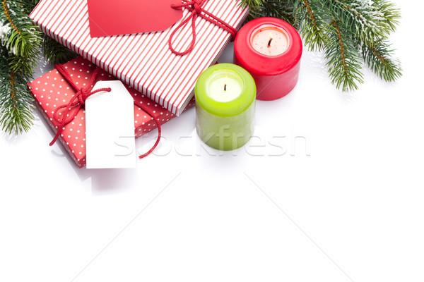 Karácsony ajándékdobozok dekoráció fenyőfa izolált fehér Stock fotó © karandaev