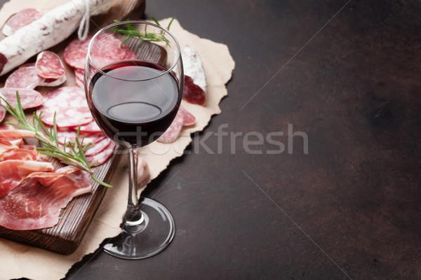 Salami, sausage, prosciutto and wine Stock photo © karandaev
