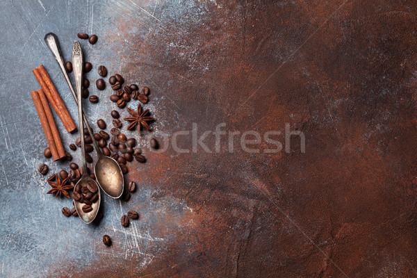 Koffiebonen specerijen top ruimte textuur Stockfoto © karandaev