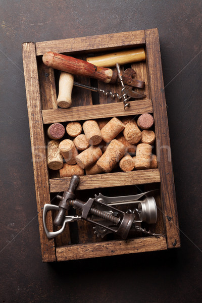 Wine corkscrews and corks Stock photo © karandaev