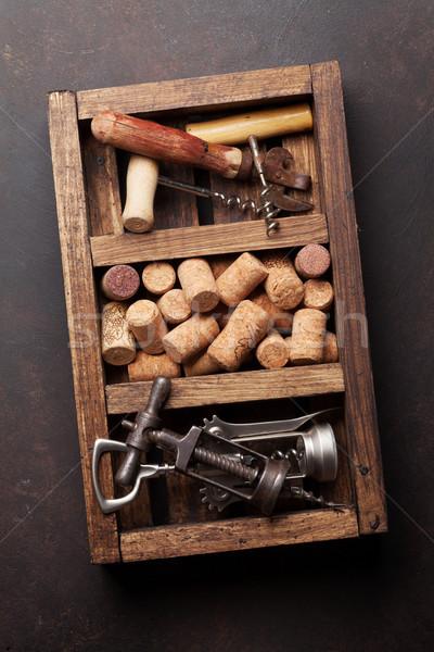 Wijn houten vak top keuken Stockfoto © karandaev