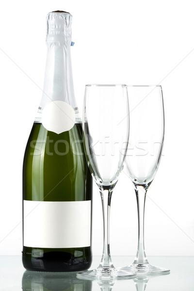 Stockfoto: Fles · champagne · label · twee · lege · bril
