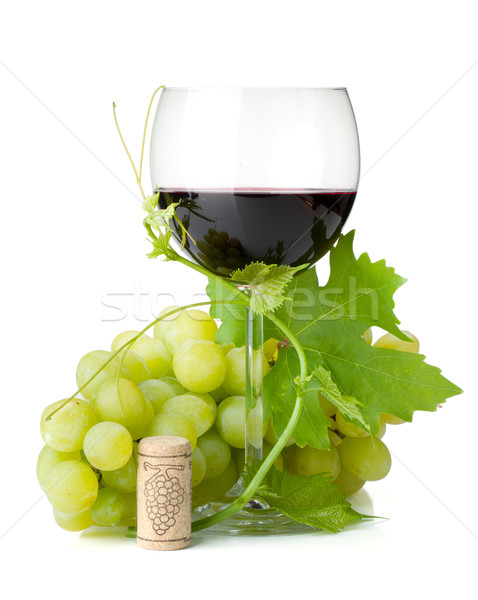 Red wine glass and grapes Stock photo © karandaev