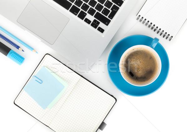 Stock fotó: Kávéscsésze · irodaszerek · felülnézet · fehér · üzlet · iroda