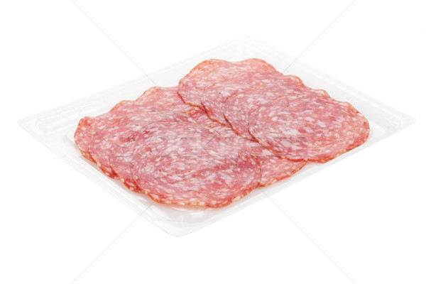 Photo stock: Salami · emballage · isolé · blanche · viande