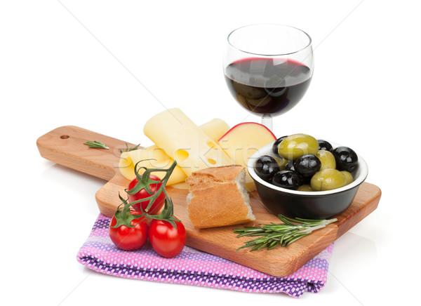Stockfoto: Rode · wijn · kaas · brood · olijven · specerijen · geïsoleerd