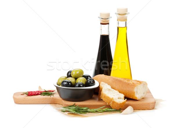 итальянской кухни закуска оливками хлеб специи изолированный Сток-фото © karandaev