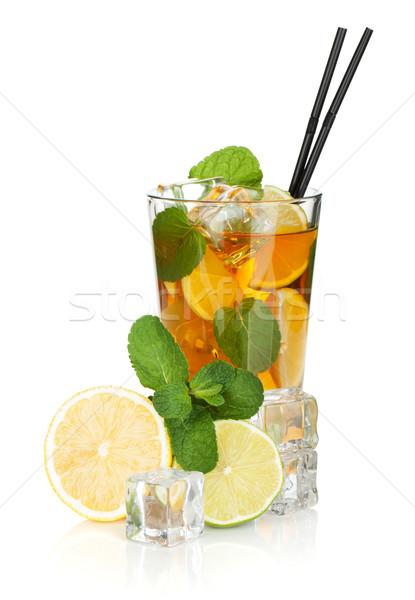 стекла чай со льдом лимона извести мята изолированный Сток-фото © karandaev