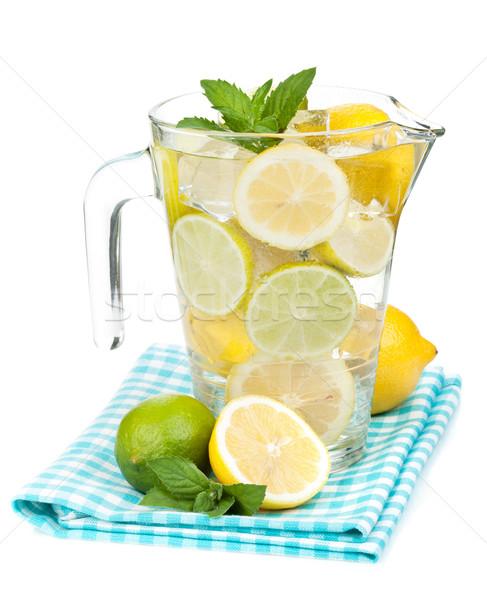 Házi készítésű limonádé izolált fehér gyümölcs nyár Stock fotó © karandaev
