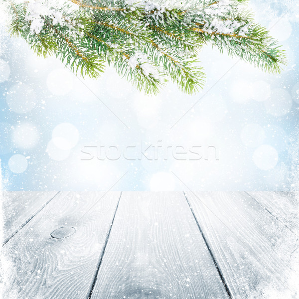 Stockfoto: Christmas · winter · sneeuw · wazig · bokeh