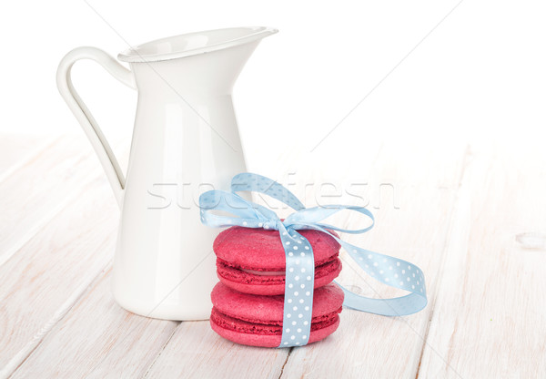 Piros macaronok kék szalag tejesflakon fehér Stock fotó © karandaev
