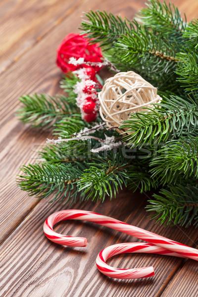 конфеты тростник рождественская елка деревянный стол фон зима Сток-фото © karandaev