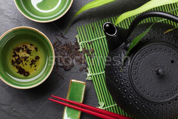 ázsiai tea tál teáskanna kő asztal Stock fotó © karandaev