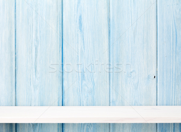Fa polc fából készült fal kilátás copy space Stock fotó © karandaev