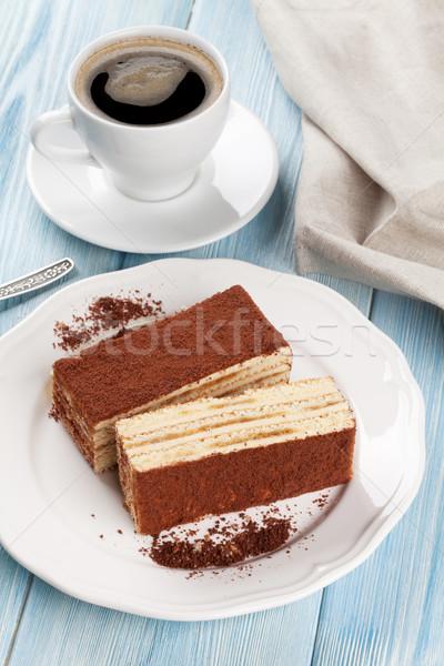 Тирамису десерта кофе деревянный стол продовольствие торт Сток-фото © karandaev