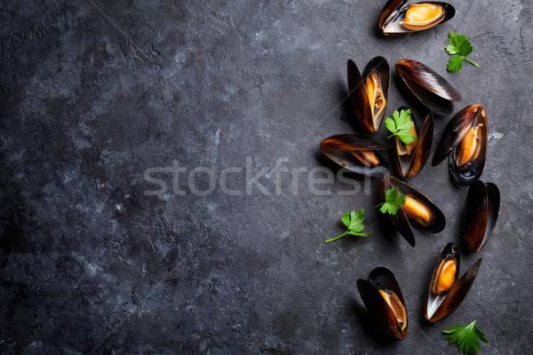 Mussels and parsley Stock photo © karandaev