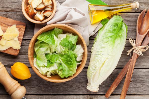 ストックフォト: 新鮮な · 健康 · シーザーサラダ · 料理 · 木製のテーブル · 先頭
