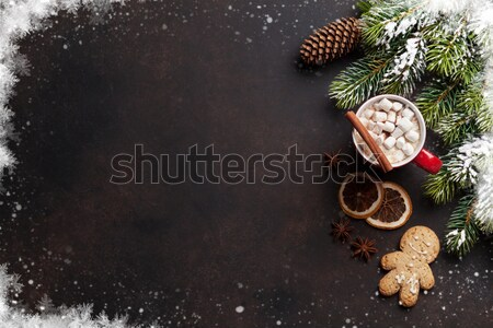 Noël chocolat chaud guimauve haut vue Photo stock © karandaev