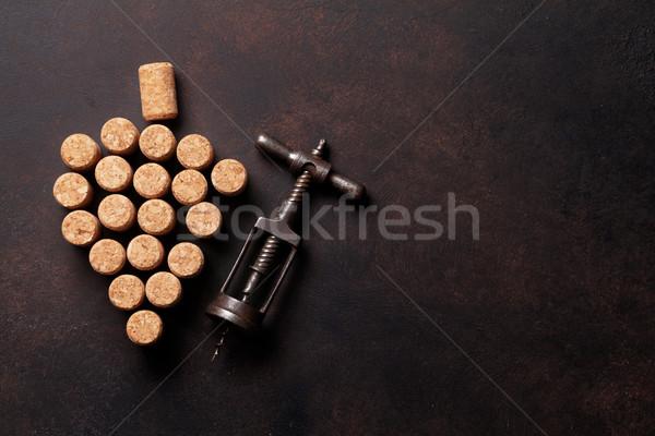 ヴィンテージ コークスクリュー ワイン 石 表 先頭 ストックフォト © karandaev