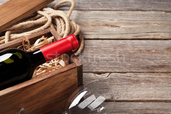 Rode wijn fles glas houten tafel exemplaar ruimte Stockfoto © karandaev
