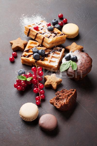 Dulces piedra mesa alimentos chocolate Foto stock © karandaev