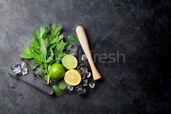 Mojito coquetel de cal gelo Foto stock © karandaev