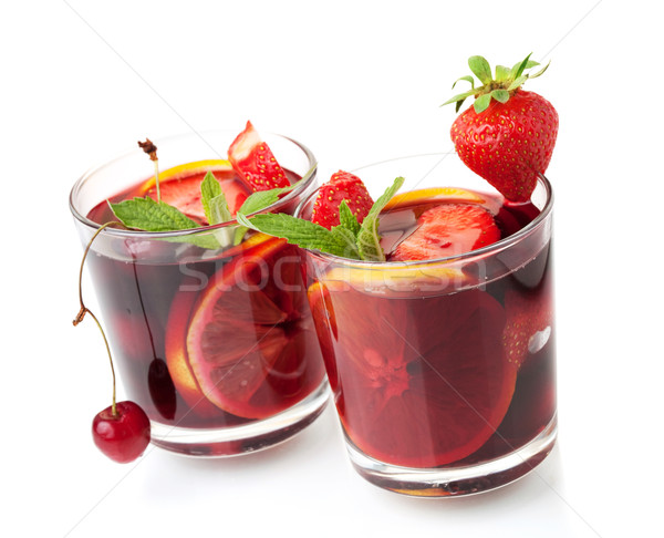 Refreshing fruit sangria in two glasses Stock photo © karandaev