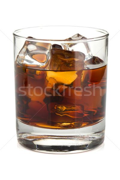 Whiskey kóla koktél izolált fehér étel Stock fotó © karandaev