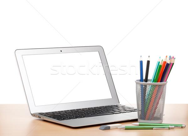 Laptop colorido lápis apagador mesa de madeira computador Foto stock © karandaev