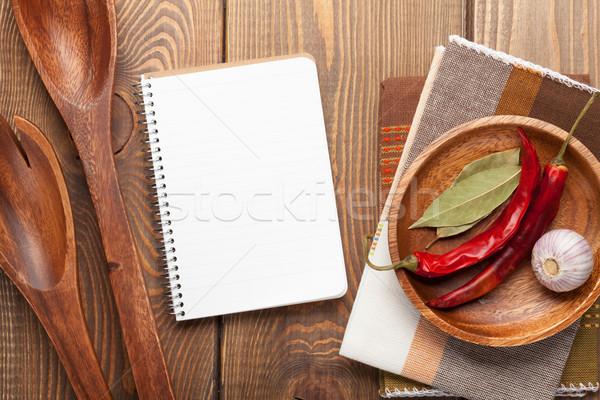 Wood kitchen utensils over wooden table Stock photo © karandaev