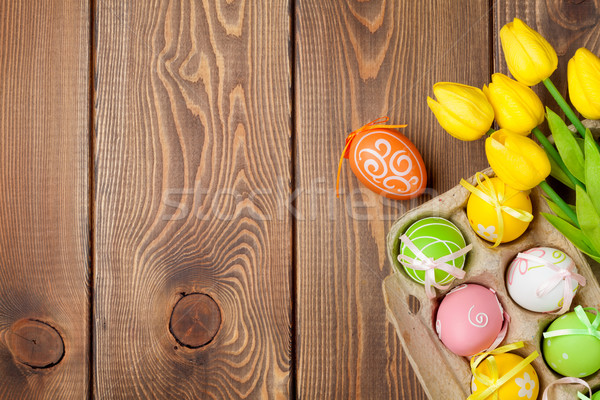 Пасху красочный яйца желтый тюльпаны древесины Сток-фото © karandaev