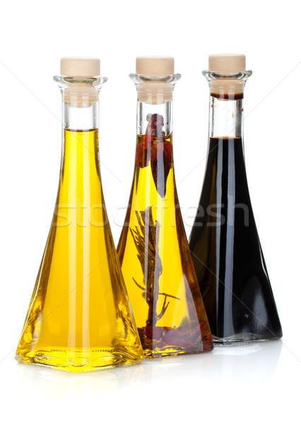 Olio d'oliva aceto bottiglie isolato bianco frutta Foto d'archivio © karandaev