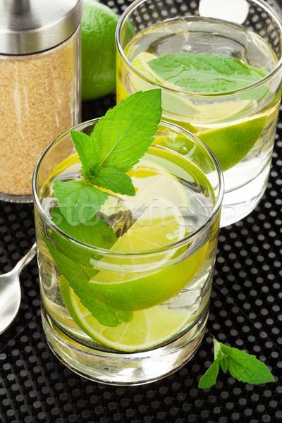 Mojito coquetel ingredientes preto borracha festa Foto stock © karandaev