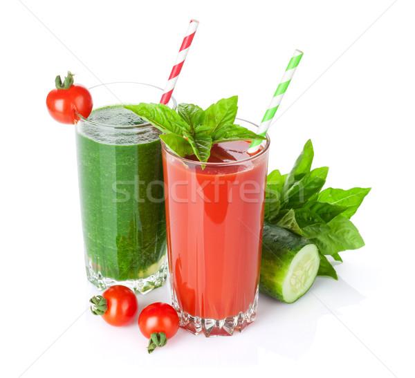 Légumes frais smoothie tomate concombre isolé blanche Photo stock © karandaev