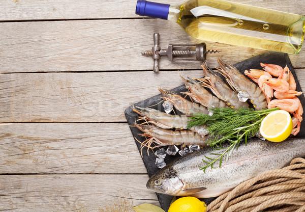 Foto stock: Frescos · crudo · mar · alimentos · especias · vino · blanco