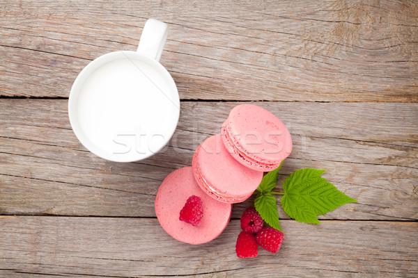 Stock fotó: Színes · málna · macaron · sütik · csésze · tej