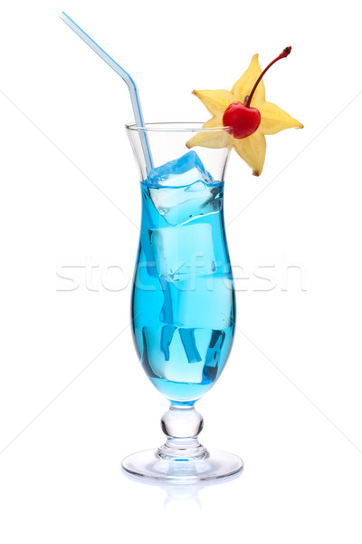 Blue cocktail with carambola and maraschino Stock photo © karandaev
