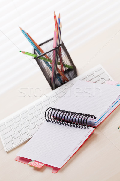 Office workplace with pc, notepad and pencils Stock photo © karandaev