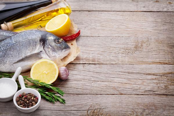 świeże ryb gotowania przyprawy przyprawy drewniany stół Zdjęcia stock © karandaev