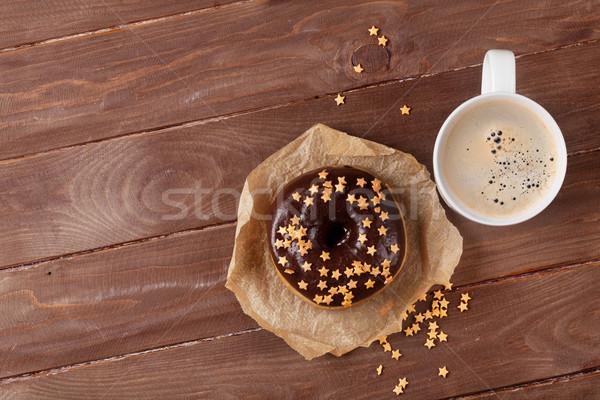 Сток-фото: пончик · кофе · деревянный · стол · Top · мнение · копия · пространства