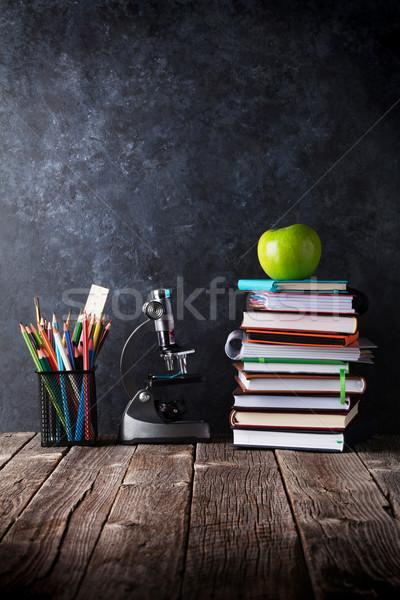 Сток-фото: яблоко · мелом · совета · Снова · в · школу · копия · пространства