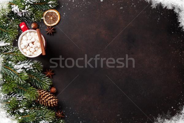 Karácsony fenyőfa forró csokoládé mályvacukor felső kilátás Stock fotó © karandaev