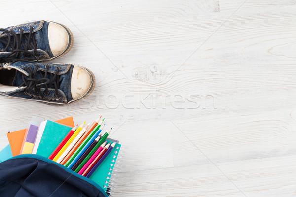 útiles escolares mesa de madera volver a la escuela espacio de la copia oficina trabajo Foto stock © karandaev