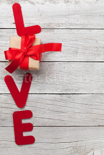 Valentines day greeting card with love word and gift Stock photo © karandaev