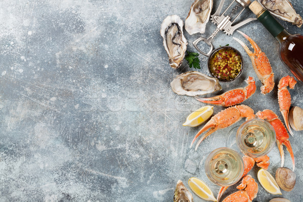 Seafood and white wine Stock photo © karandaev