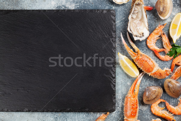 シーフード カキ ロブスター 先頭 表示 石 ストックフォト © karandaev