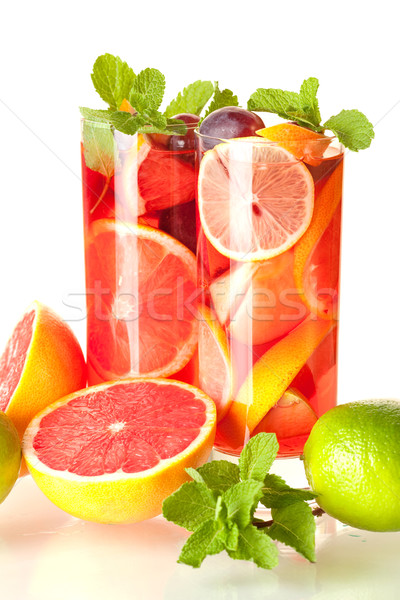 Cocktail collection: Refreshing fruit sangria (punch) Stock photo © karandaev