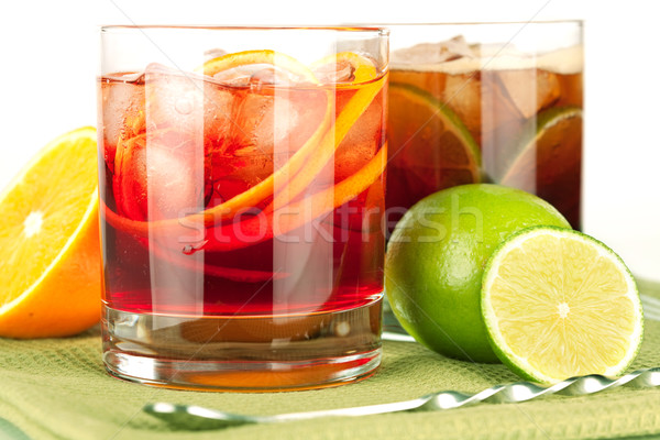 Alcohol cocktail collection - Negroni and Cuba Libre Stock photo © karandaev