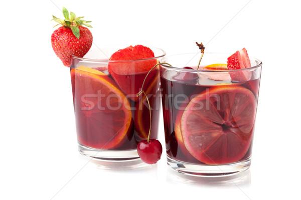 Two glasses of fresh fruit sangria Stock photo © karandaev