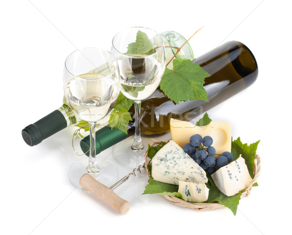 White wine, cheese and grape Сток-фото © karandaev